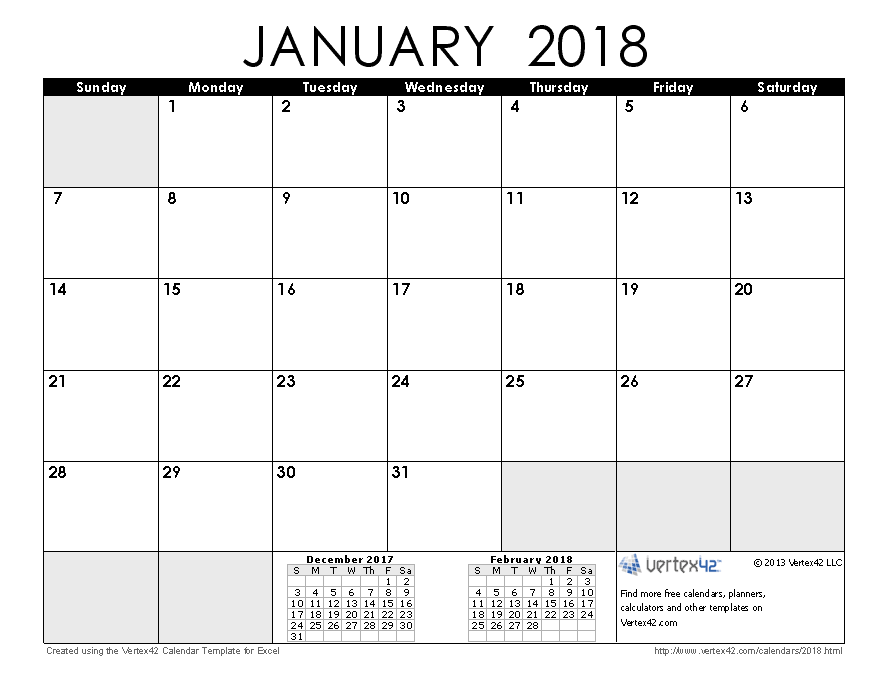 2018 calendar templates and images january 2018 calendar pronofoot35fo Gallery