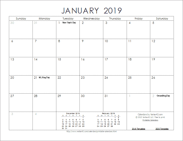 Printable Calendars 2019 Free 2019 Calendar Templates and Images