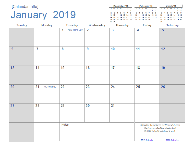 Template For Calendar 2019 2019 Calendar Templates and Images