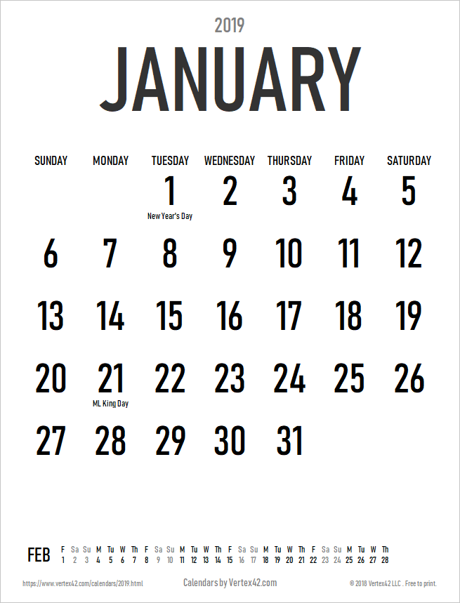2019 Large Print Calendar with Holidays - Portrait