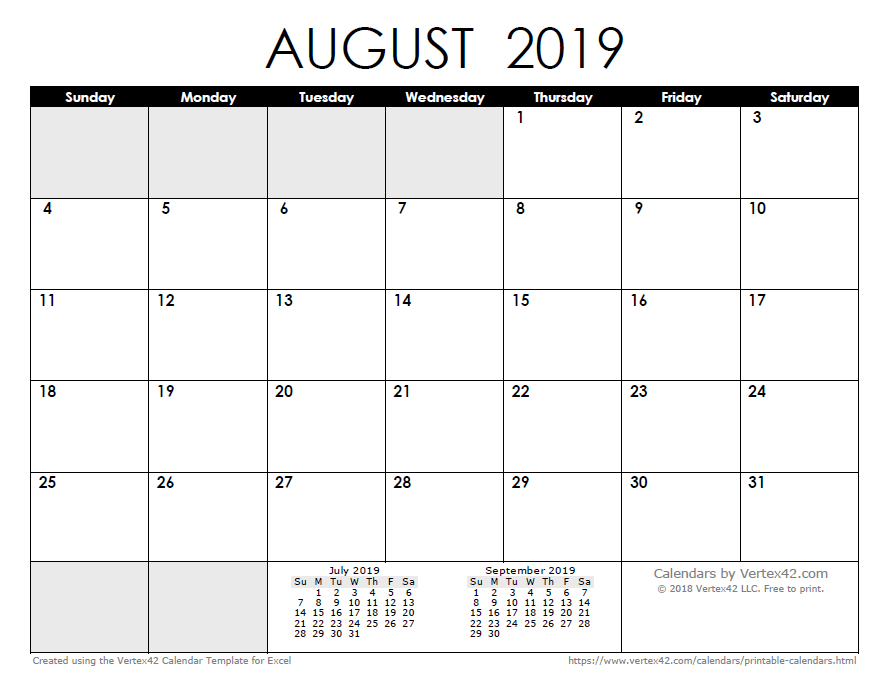 2019 Calendar For Excel Free Printable Calendar   Printable Monthly Calendars
