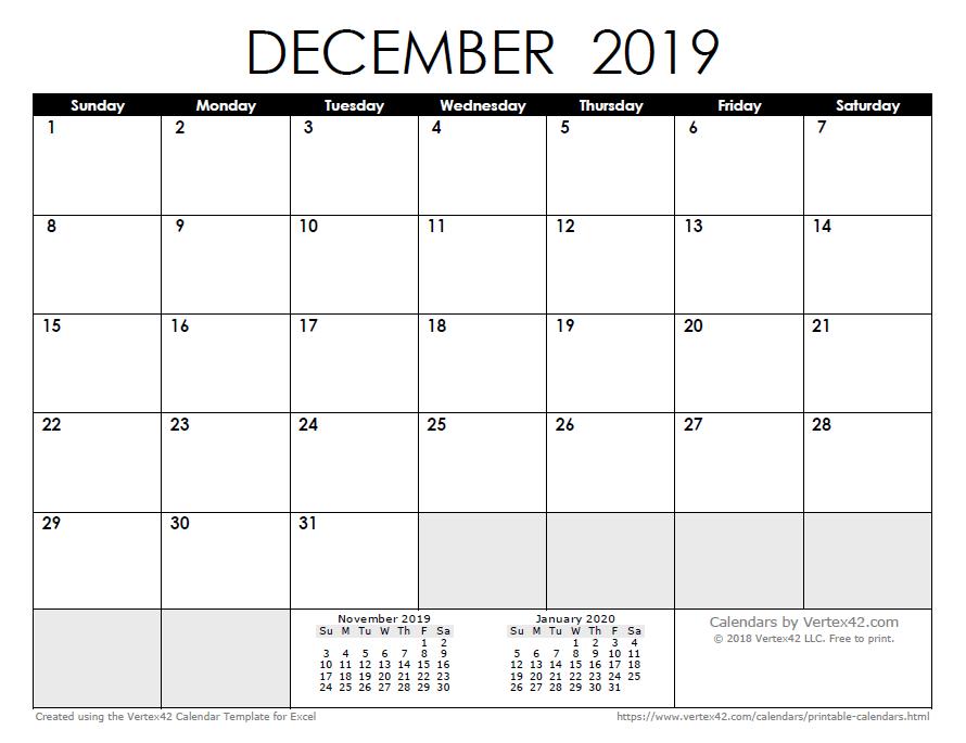 December Calendar 2019 : Calendar templates and images