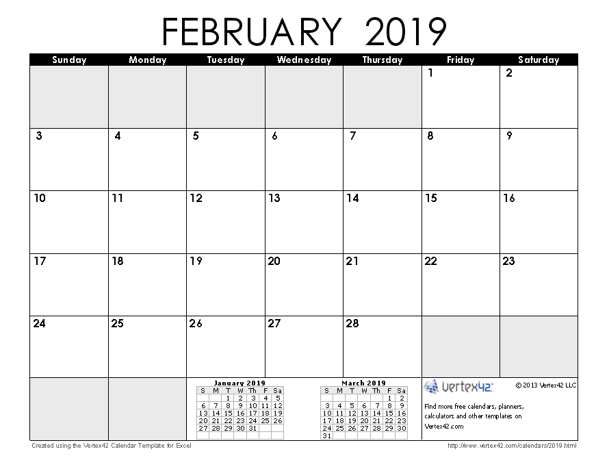 Monthly Calendar Grid February 2019 2019 Calendar Templates and Images
