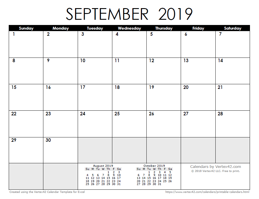 Calendar September 2019 Labor Day