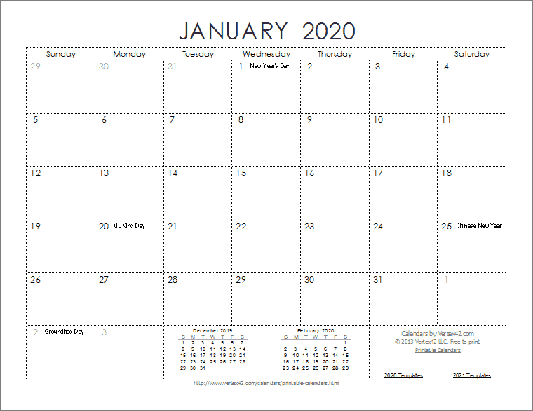 Printable 2020 Monthly Calendar Template 2020 Calendar Templates and Images