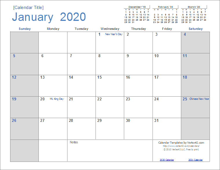 2020 Calendar (Light Theme)