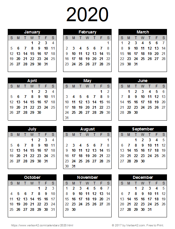 2020 Yearly Calendar 2020 Calendar Templates and Images