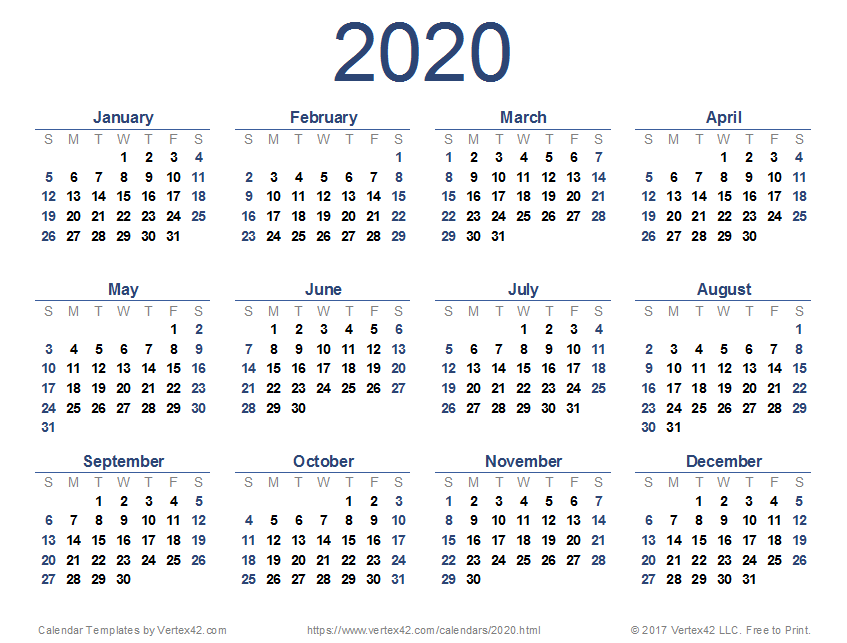 Yearly Calendar 2020 Free Printable 2020 Calendar Templates and Images