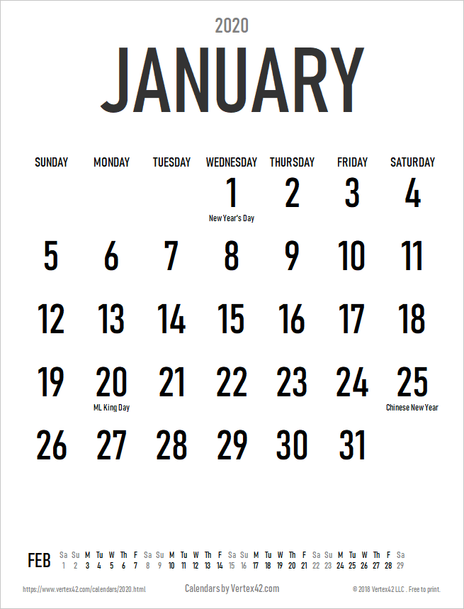 2020 Large Print Calendar with Holidays - Portrait