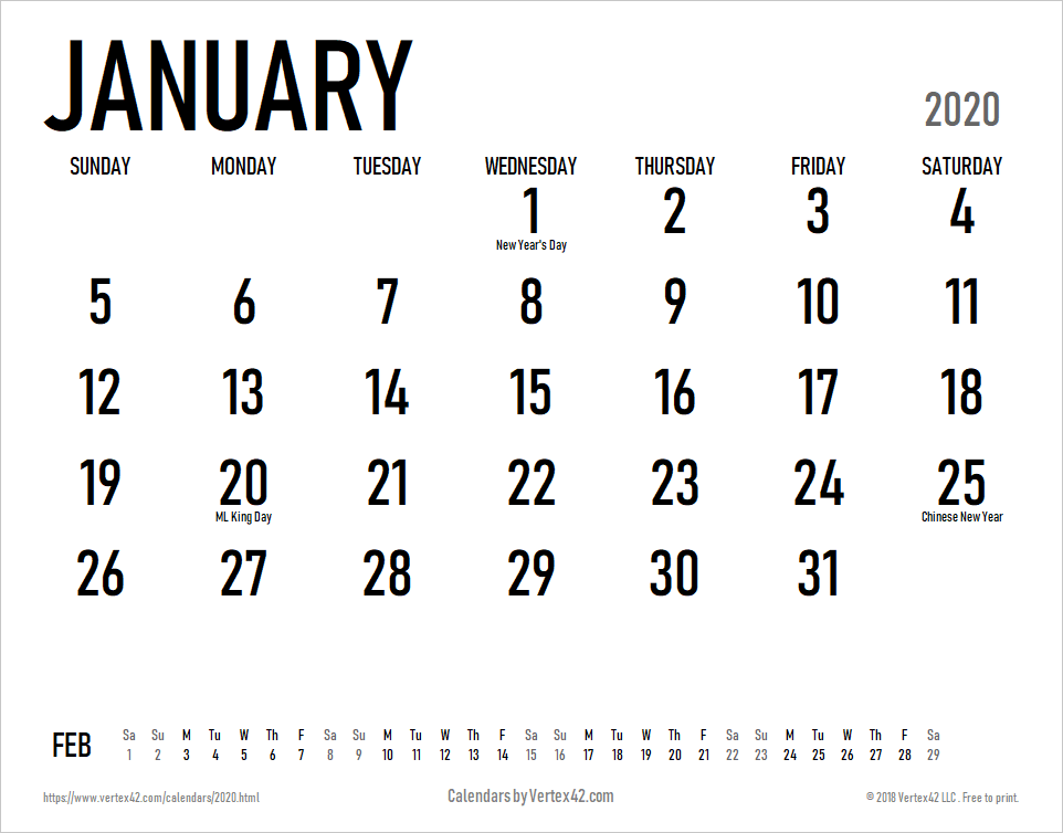 Large 2020 Calendar 2020 Calendar Templates and Images