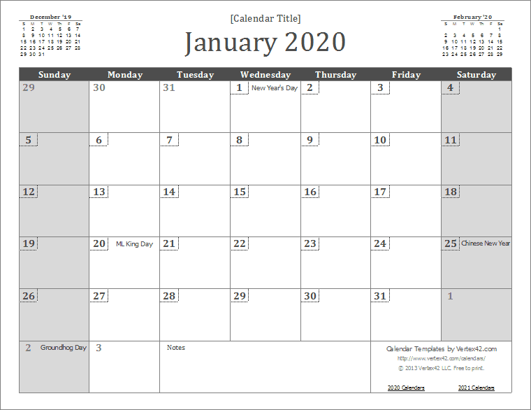 Blank Calendar 2020 Printable 2020 Calendar Templates and Images
