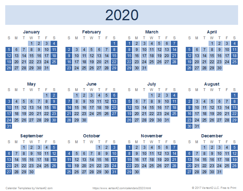 Calendario 2020 Vector Gratis.2020 Calendar Templates And Images