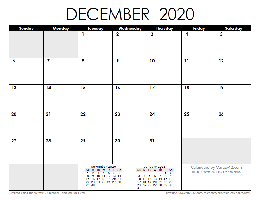Print Outs Of Calendars December 2020 2020 Calendar Templates and Images