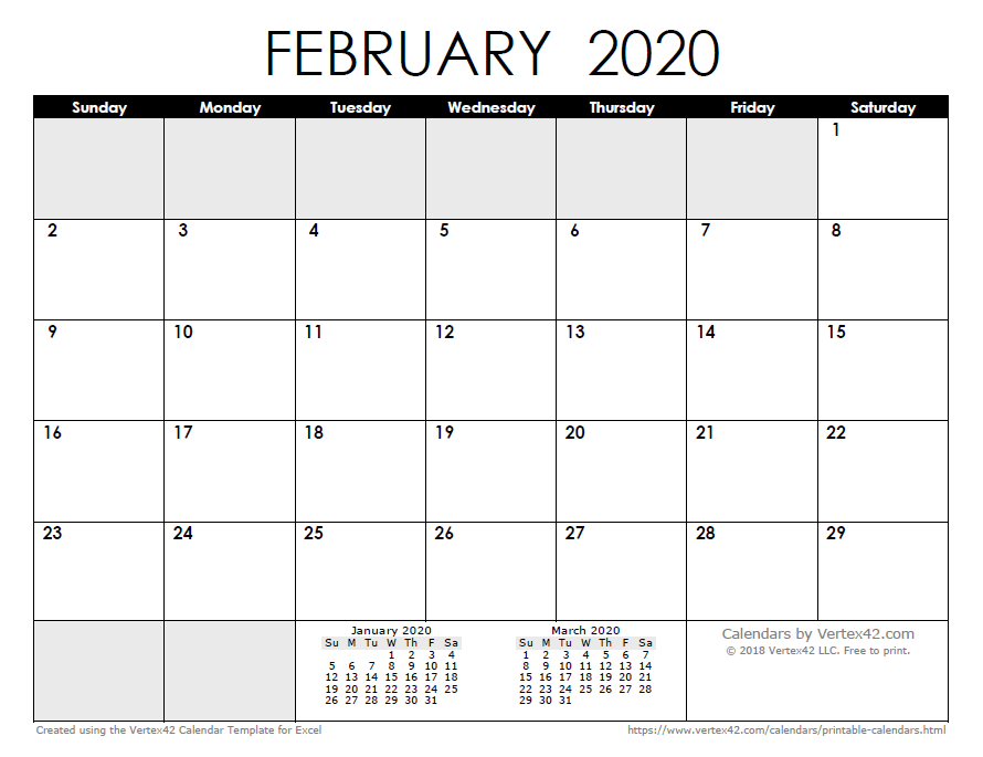Print Full Page Calendar 2020 February 2020 Calendar Templates and Images