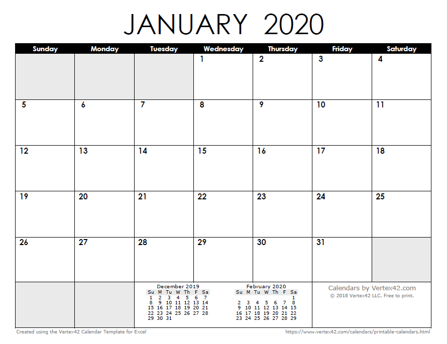 Excel January 2020 Calendar 2020 Calendar Templates and Images
