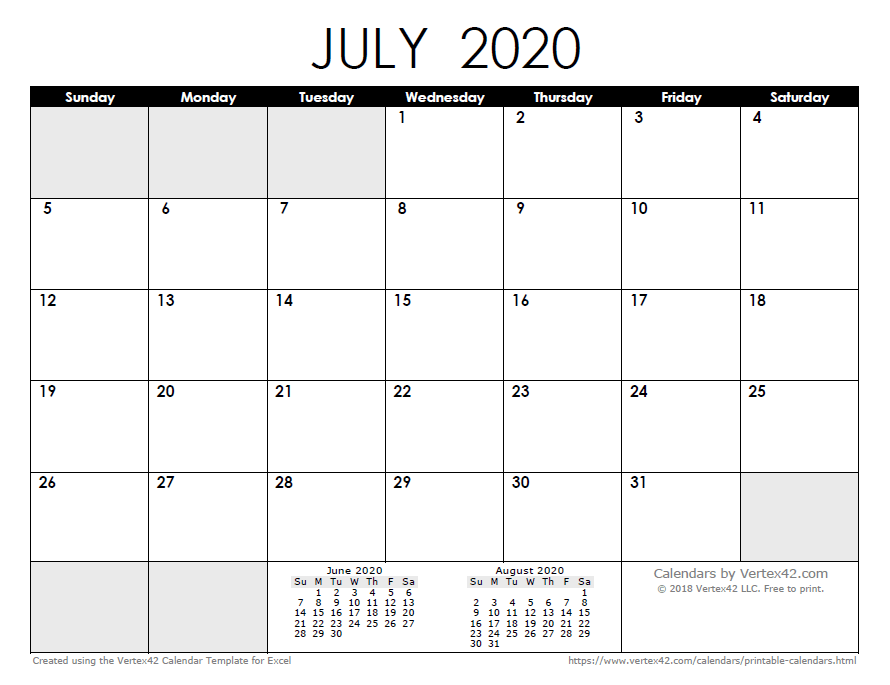 Calendario In Excel 2020.2020 Calendar Templates And Images