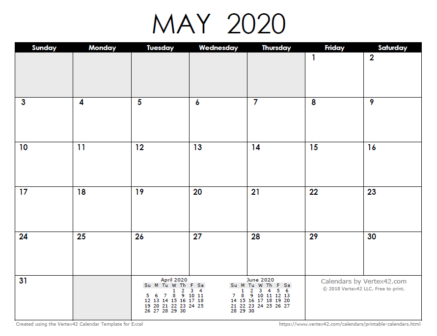 May Printable Calendar 2020.2020 Calendar Templates And Images