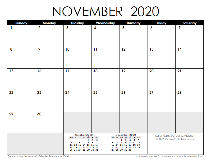 November December 2020 Calendar Printab;E 2020 Calendar Templates and Images