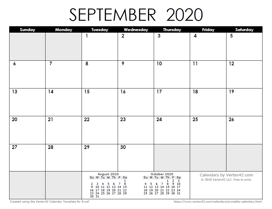 Calendar Sept 2020.2020 Calendar Templates And Images