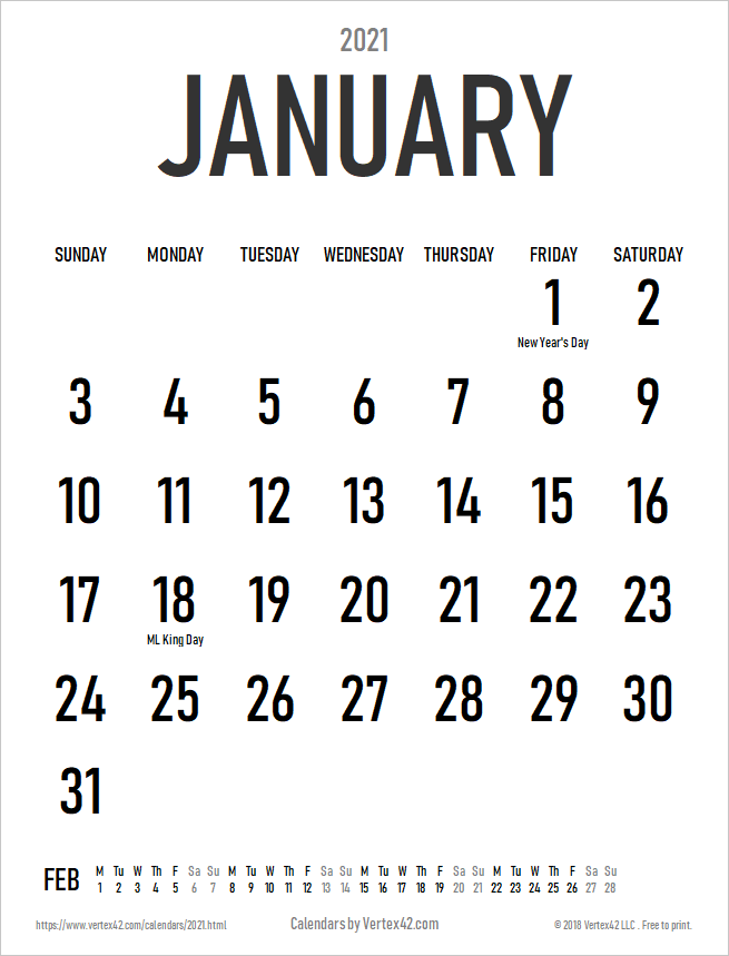 2021 Large Print Calendar with Holidays - Portrait