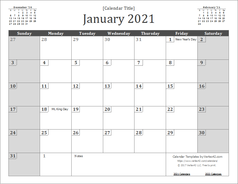 Printable Wall Calendar 2021 2021 Calendar Templates and Images