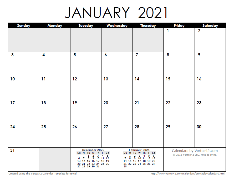 Monthly Calendar 2021 Free Printable Calendar   Printable Monthly Calendars