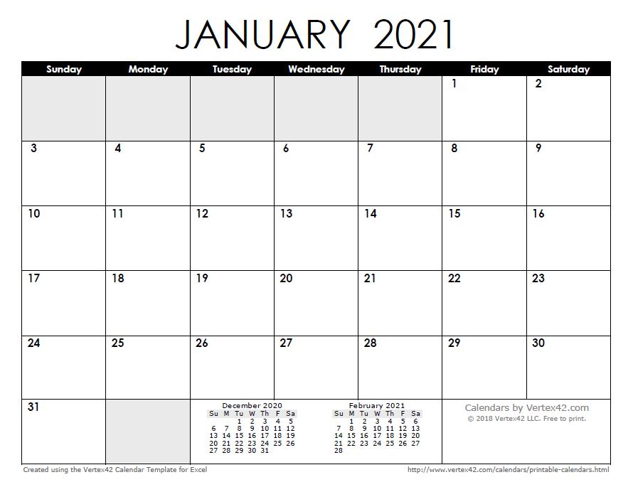 2021 Calendar By Month Free Printable Calendar   Printable Monthly Calendars