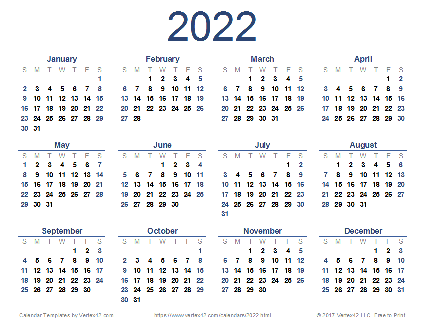 Free Print Calendar 2022.2022 Calendar Templates And Images