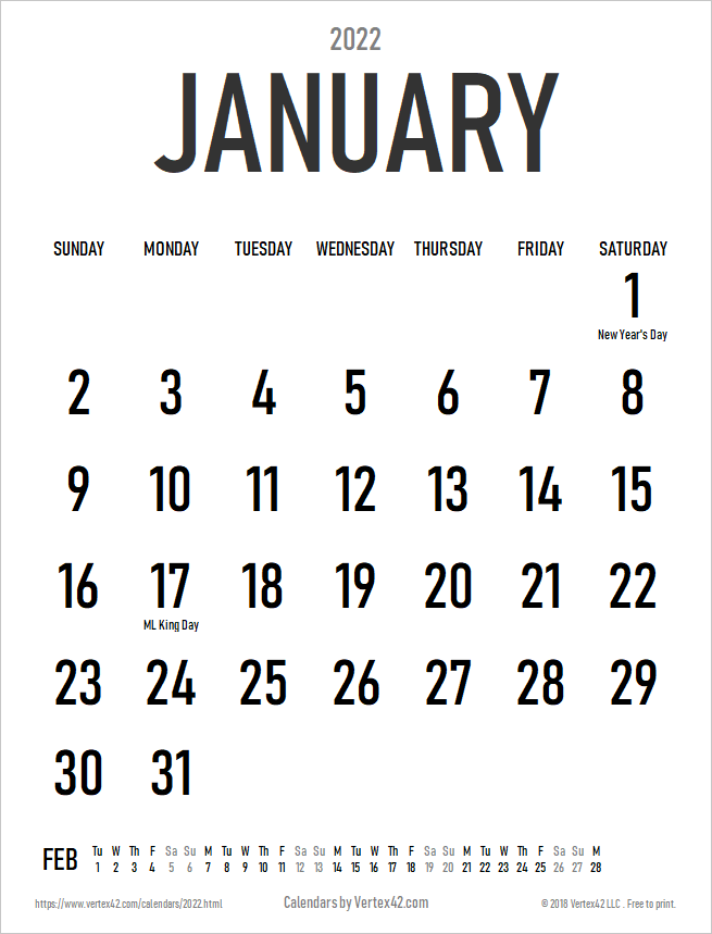2022 Large Print Calendar with Holidays - Portrait