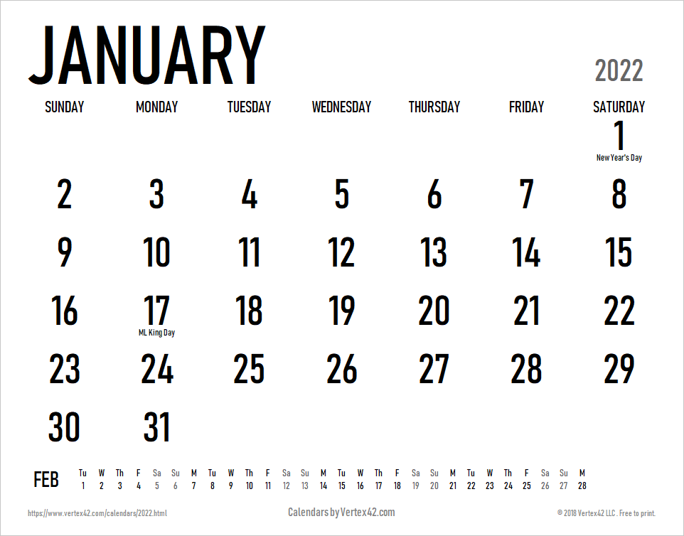 2022 Large Print Calendar with Holidays