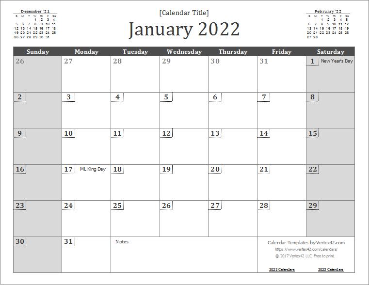 2022 Wall Calendar Template