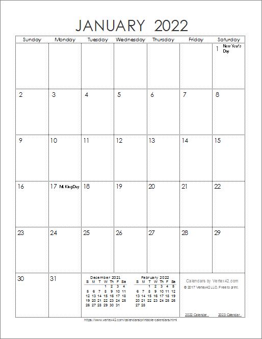 Ink Saver 2022 Calendar - Portrait