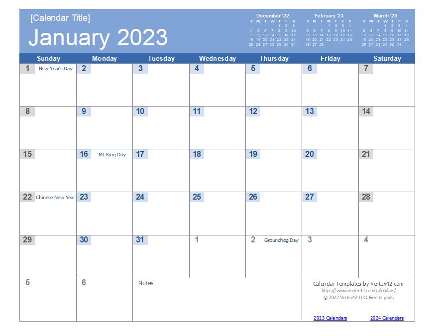 2023 Calendar (Bold Theme)