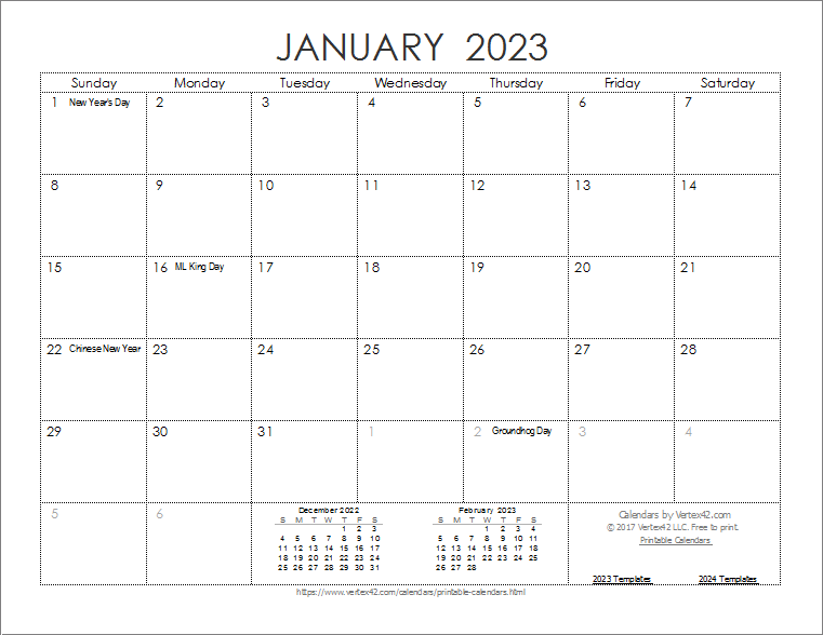 2023 Ink Saver Calendar