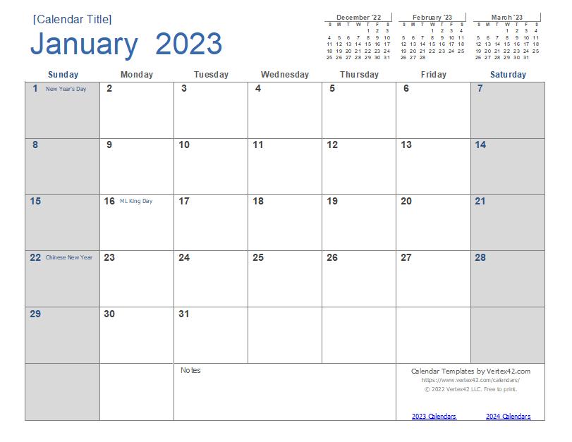 2023 Calendar (Light)