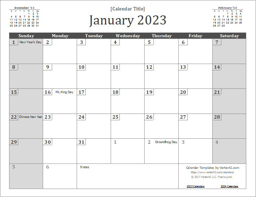 2023 Wall Calendar Template