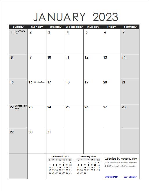 2023 Calendar - Portrait