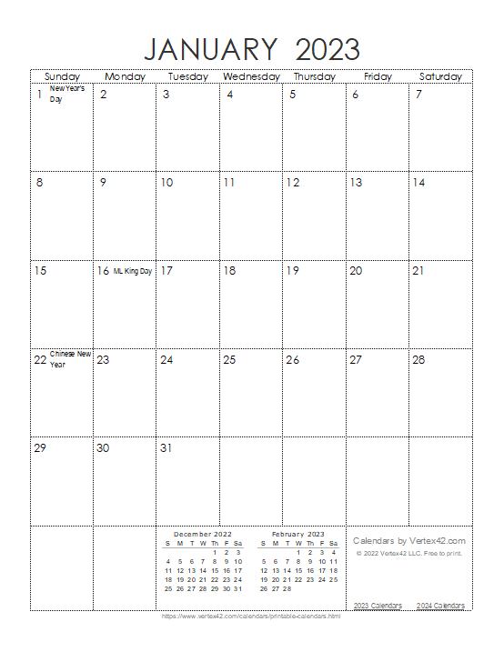 Ink Saver 2023 Calendar - Portrait