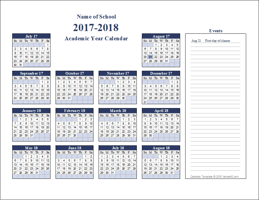Academic Calendar Year Template