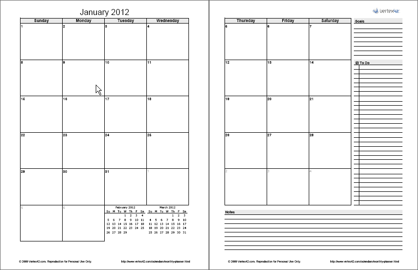 Calendar Layout Pages : Monthly planner template free printable