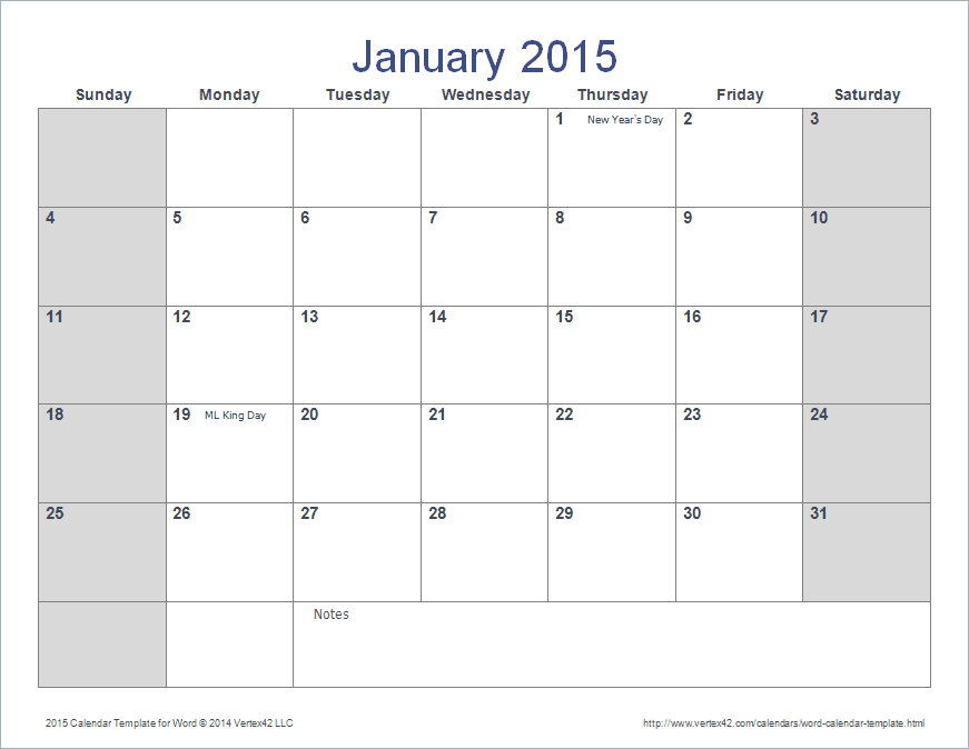 Word Calendar Template For 2015 And Beyond