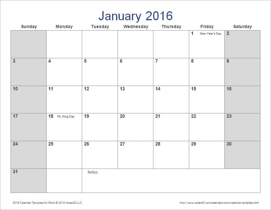 2016 Calendar Template for Word