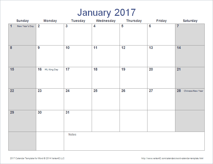 Word Calendar Template for 2016, 2017 and Beyond