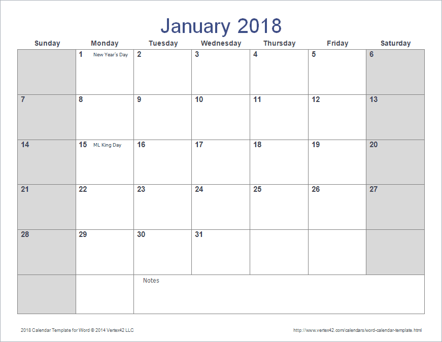 calendar templates for word