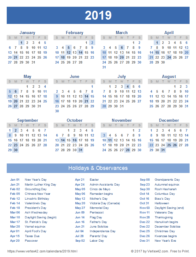 2019 calendar with holidays portrait orientation