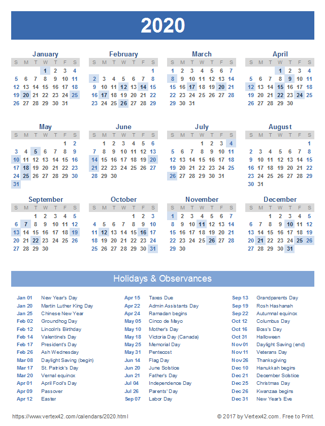 Calendario Lunar 2020.2020 Calendar Templates And Images