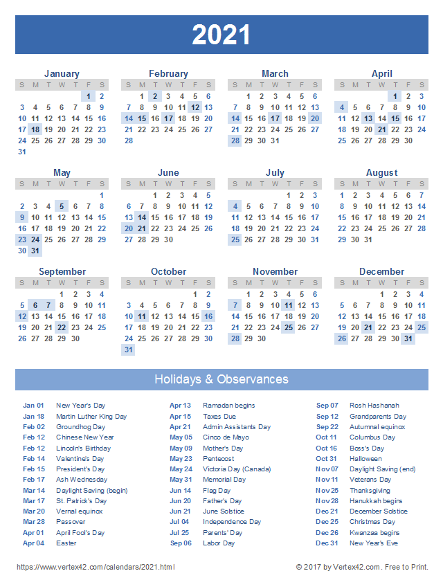 2021-22 Calendar With Holidays 2021 Calendar Templates and Images