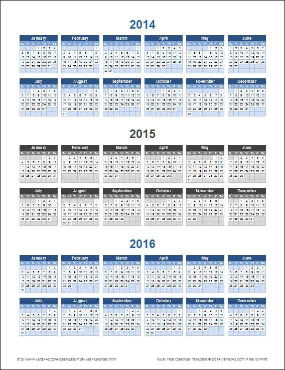 picture about 3 Year Calendar Printable named 3-12 months Calendar Template for Excel
