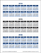 3 Year Calendar - Portrait Orientation