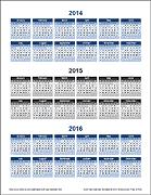 3 Year Calendar - Portrait Orientation